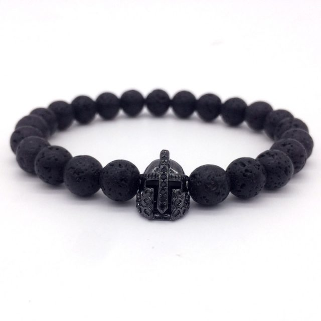 Lava Stone Beads Bracelet with Charm