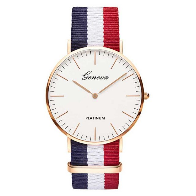 Women's Striped Textile Watch