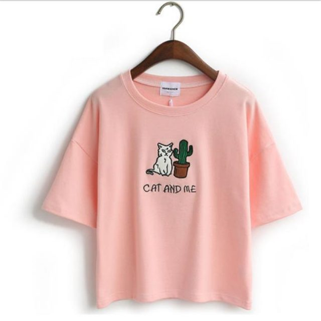 Women's Cat Embroidered Crop Top